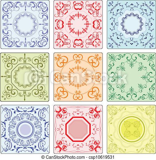 Vectores de decorativo acabado cer mico azulejos - Azulejos con dibujos ...