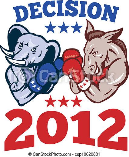 Vector de burro republicano elefante demcrata mascota