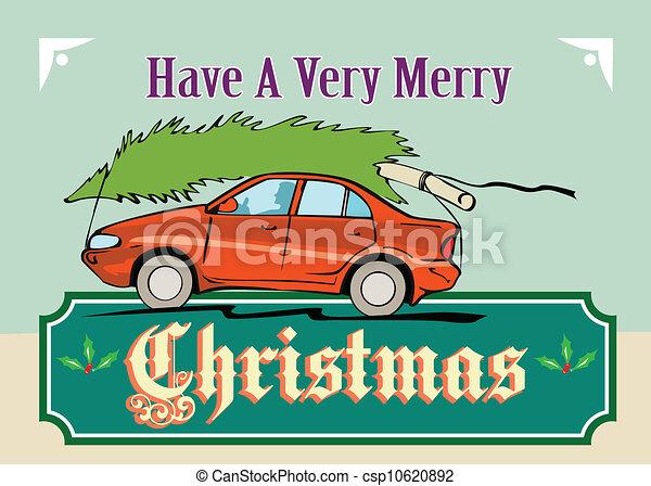 Merry Christmas Tree Car Automobile - csp10620892