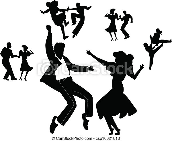 Vector Clip Art de baile, fiesta - adolescentes, bailando, encima ...