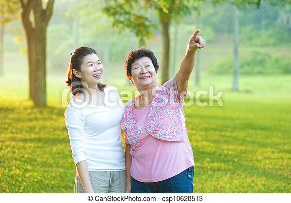 Asian senior mother with her daughter - csp10628513