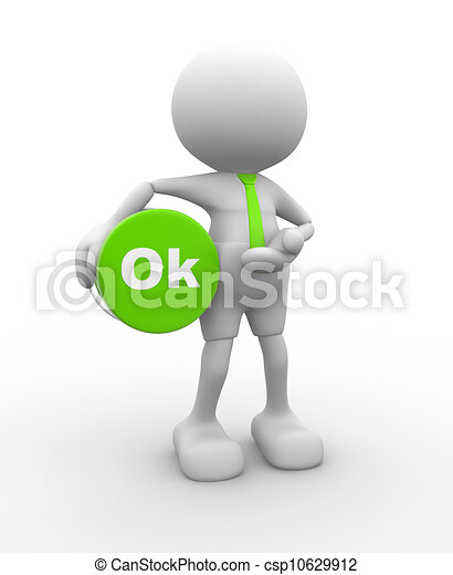 Clipart of OK - 3d people - man, person with button