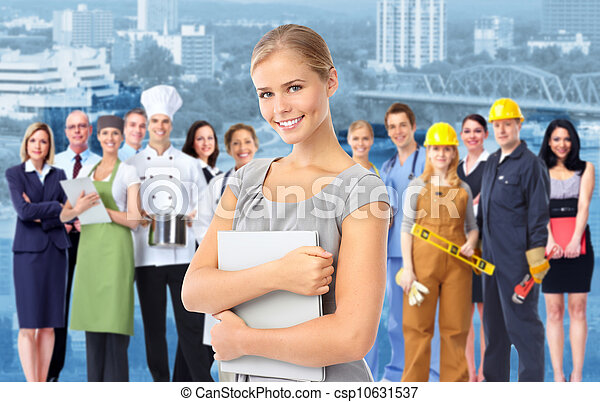 Business woman and Group of industrial workers. - csp10631537