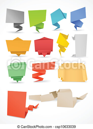 Colorful polygonal origami banners set. Place your text here - csp10633039