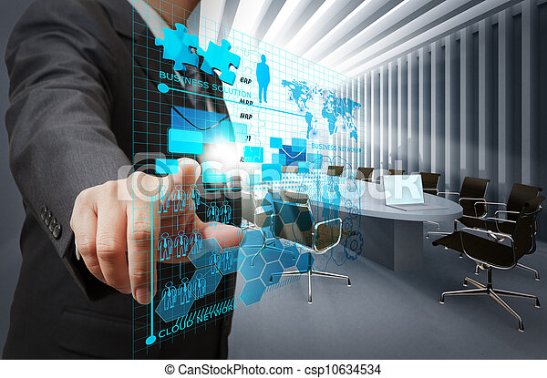 businessman hand point on virtual business network in board room - csp10634534