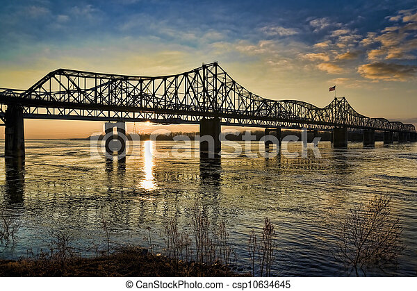 Mississippi River Bridge at Sunset - csp10634645