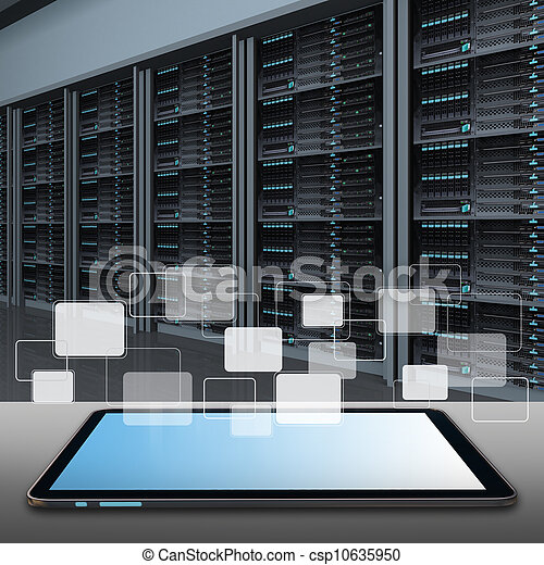 tablet computer and data center server room - csp10635950