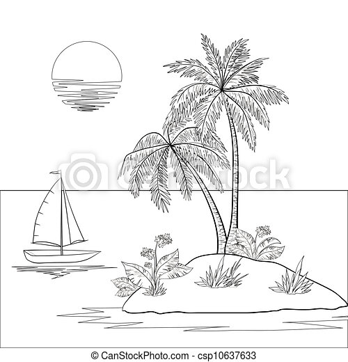 Island Flowers Drawings Island With Palm And Ship