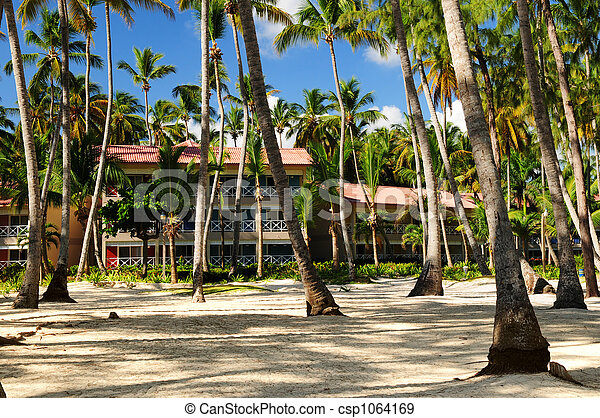 Hotel at tropical resort - csp1064169
