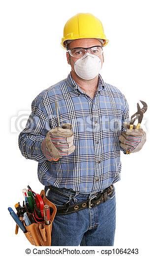 trabalhador, construção, segurança - csp1064243