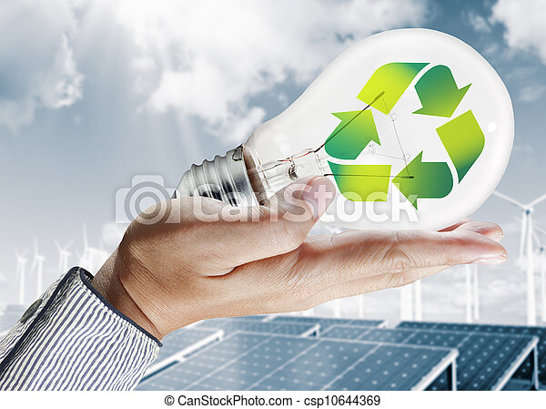 ambiente, luz, concepto, verde, bombilla - csp10644369