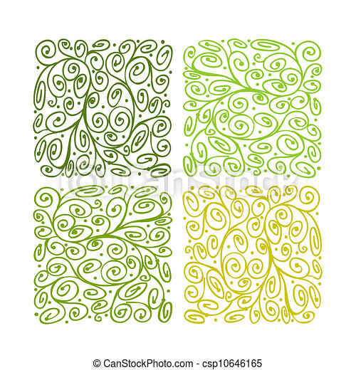 Abstract green ornament for your design - csp10646165