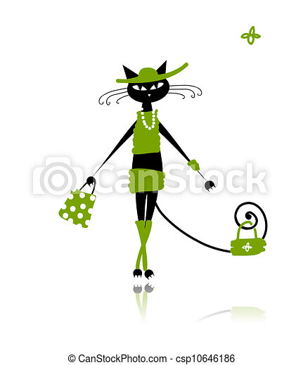 Black cat in fashion clothes for your design - csp10646186