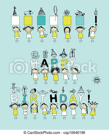 Birthday card with funny girls for your design - csp10646196