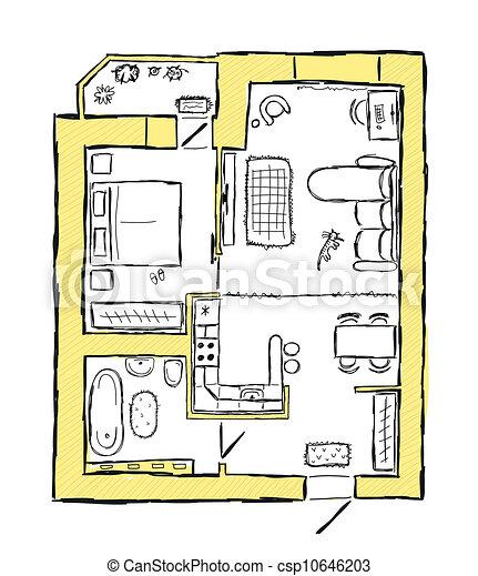 Vektor clipart von skizze abbildung hand for Wohnung inneneinrichtung design