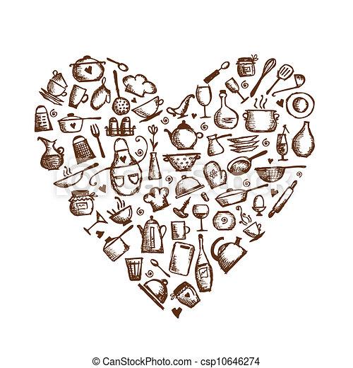 ... I Love Cooking! Kitchen Utensils Sketch, Heart Shape For.