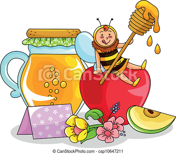 Clipart Of Honey Cake : Vector Clip Art of honey and apple - bee sitting on an ...