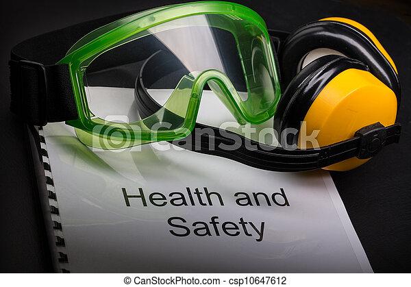 óculos proteção, saúde, registo, segurança, fones ouvido - csp10647612