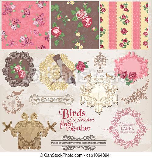 Scrapbook Design Elements - Vintage Flowers and Birds- in vector - csp10648941