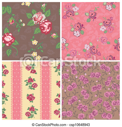 Seamless background Collection - Vintage Flowers - for design and scrapbook - in vector - csp10648943