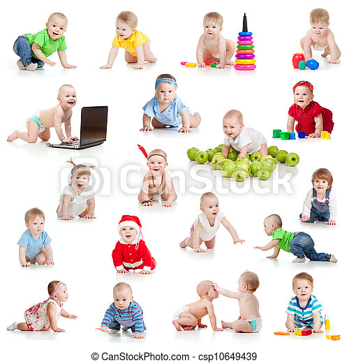 set of crawling babies or toddlers with toys isolated on white - csp10649439