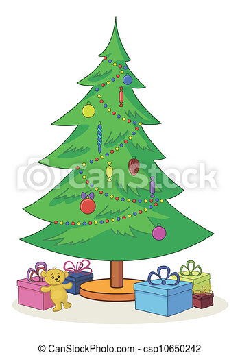 Drawing of Christmas tree with toys and gift boxes ...