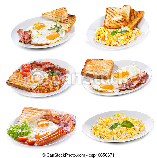 Picture of set with various plates of fried and scrambled eggs on ...