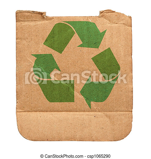cardboard with recycle symbol - csp1065290