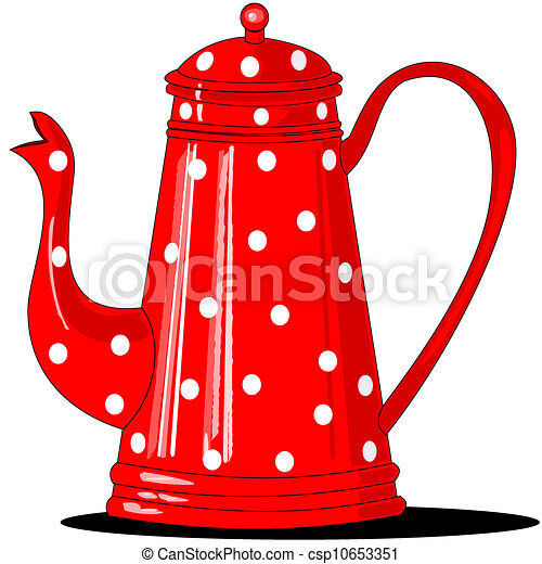 Coffee Pot Drawing Red Polka-dotted Coffee Pot