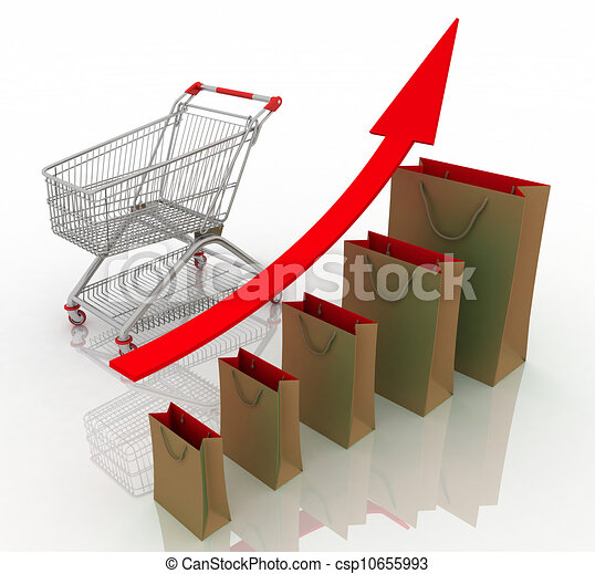 Sales growth chart. Presenting a getting better economy and increase of business income from the sale of commodities and services. - csp10655993