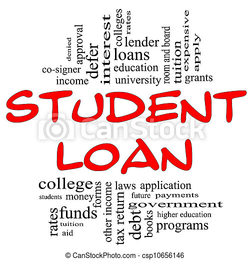 conceito, palavra,  &, empréstimo, pretas, nuvem, estudante, vermelho - csp10656146