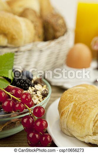 tradicional, francês, pequeno almoço, tabela, manhã - csp10656273