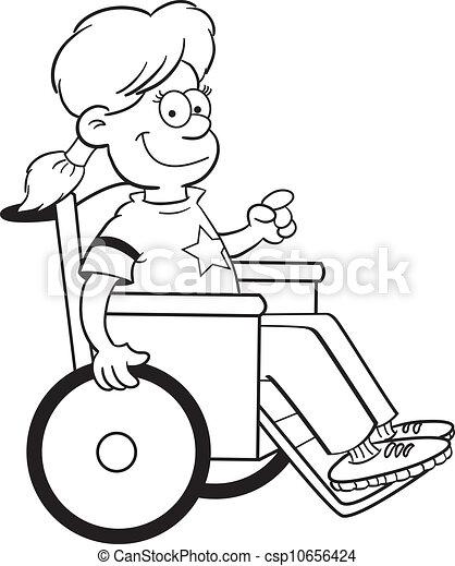 illustration vecteur de girl fauteuil roulant black et