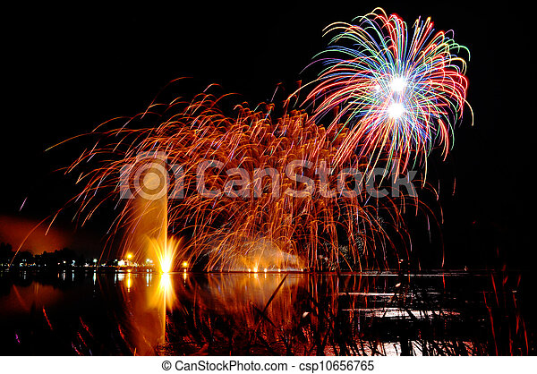 Magrnificient fireworks over a lake - csp10656765