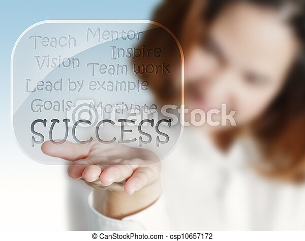 woman hand shows a success flow chart in glass bubbles - csp10657172