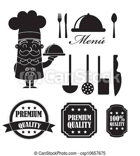 Ilustraciones vectoriales de elementos cocina silueta for Elementos de cocina para chef