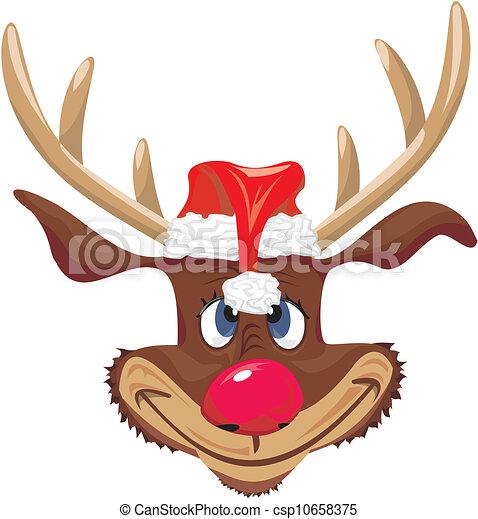 Vector - rojo, Nosed, reno, santa, Claus - stock de ilustracion ...