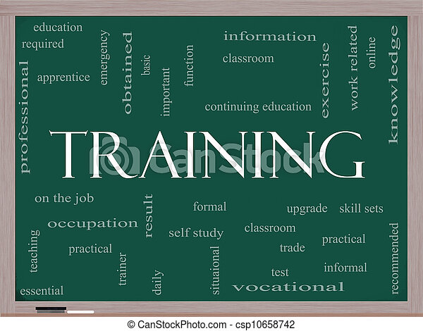 Training Word Cloud Concept on a Blackboard - csp10658742