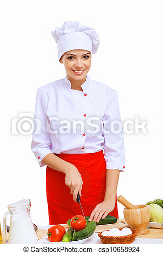 Young cook preparing food - csp10658924