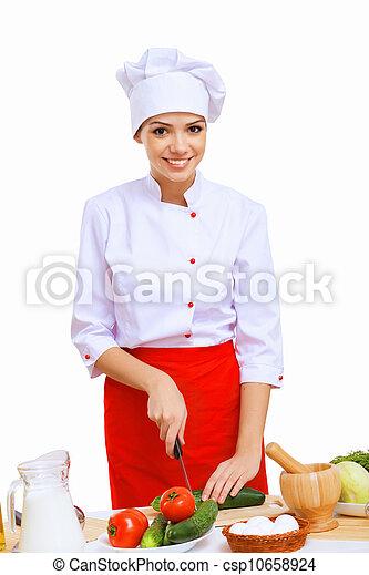 Young cook preparing food - csp10658924