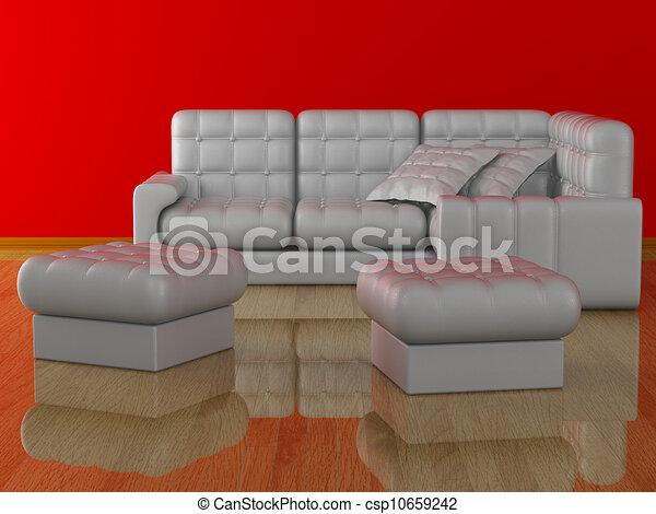 Interior of a living room. 3D image. - csp10659242