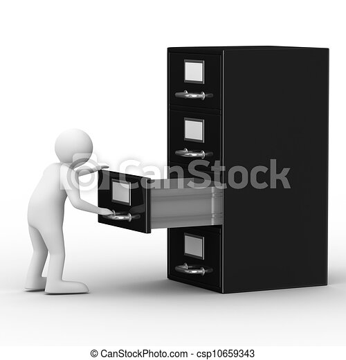 Drawing of Filing cabinet on white. Isolated 3D image csp10659343 ...