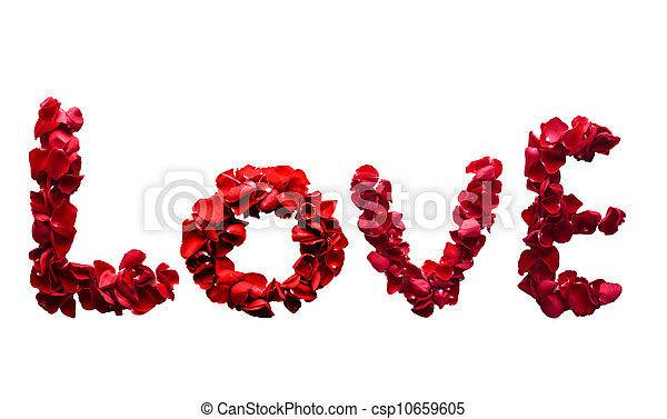 Stock Photography of Alphabet letter LovE made from red petals ...