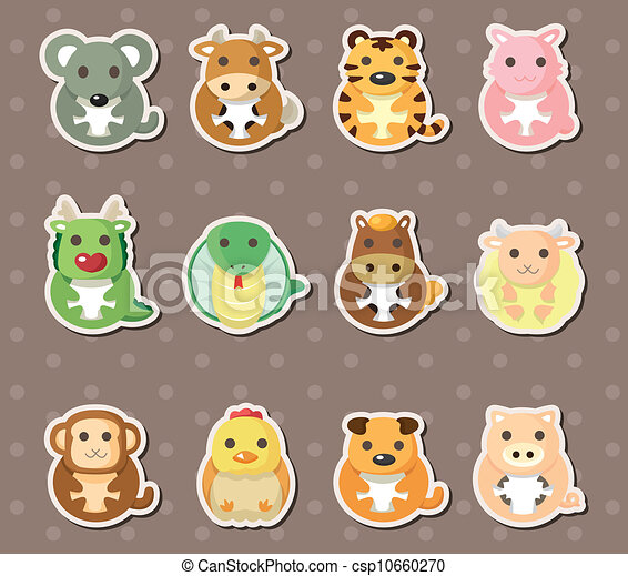 vectors illustration of 12 chinese zodiac animal stickers