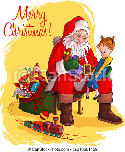Santa Claus give presents to child - csp10661459