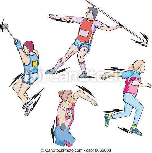 Shot put, Discus, Hammer and Javelin throw - csp10662003