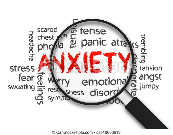 Clipart of Anxiety - Magnified Anxiety word illustration ...