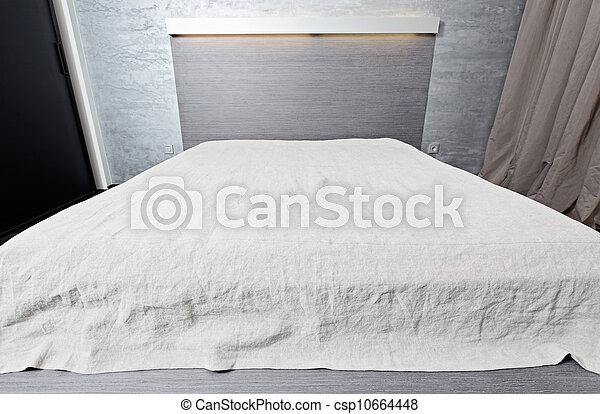 photo lit dessus de lit moderne chambre coucher sommet large angle vue image. Black Bedroom Furniture Sets. Home Design Ideas