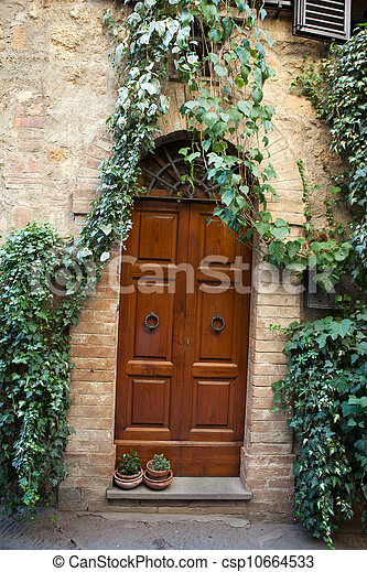 wooden residential doorway in Tuscany. Italy - csp10664533