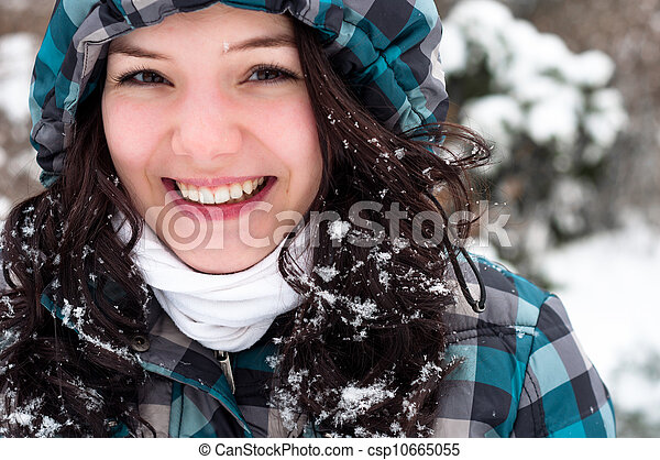 Closeup photo of a young adult at winter - csp10665055